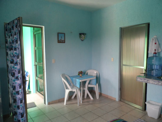 Dining area and door